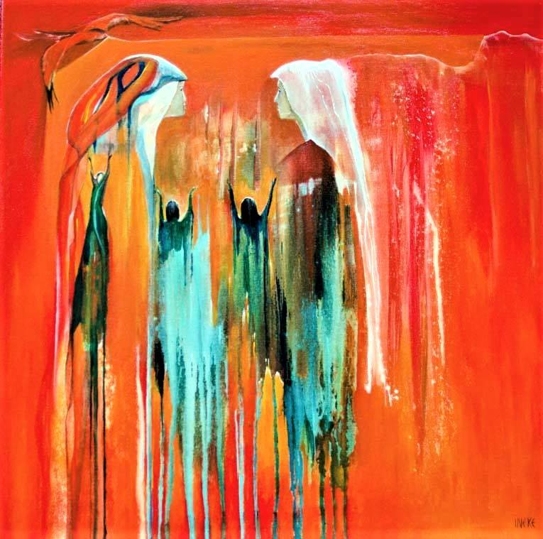"""""""The garment of praise for the spirit of heaviness"""" painting"""